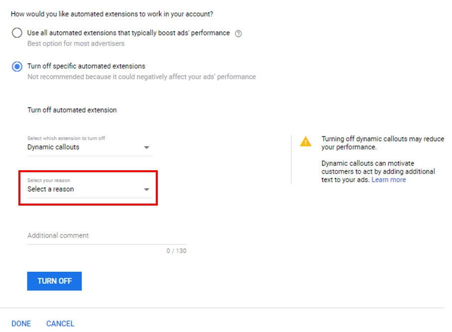 Automated Ad Extensions - Select Reason