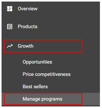 Google Merchant Centre Manage Programs