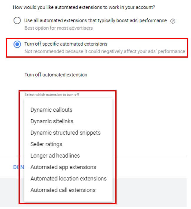Turn Off Specific Automated Ad Extensions