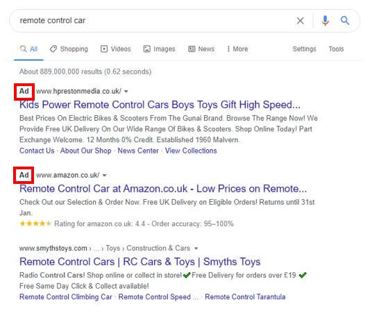 PPC Search Ad Example