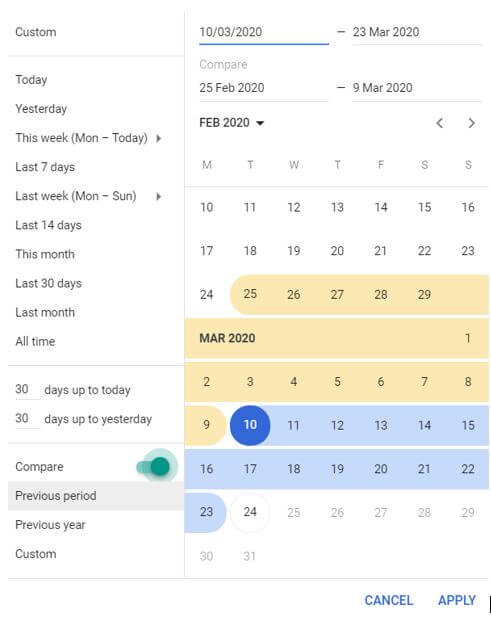 Google Ads Date Select