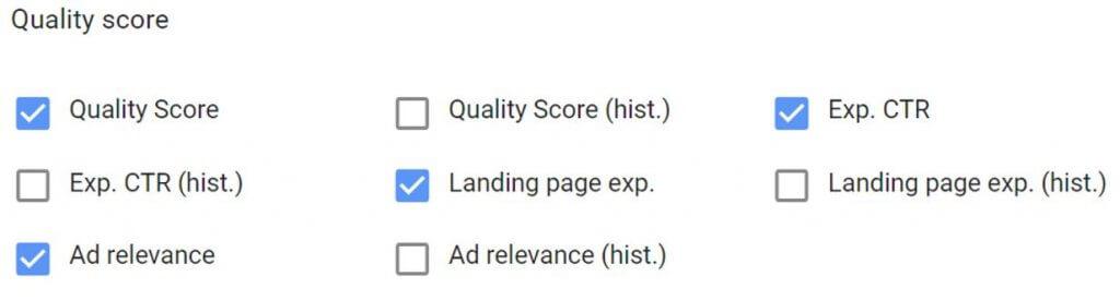 Quality Score Attributes
