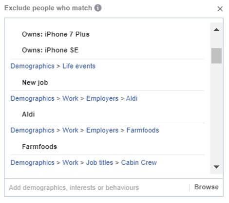 Facebook Targeting Exclusions