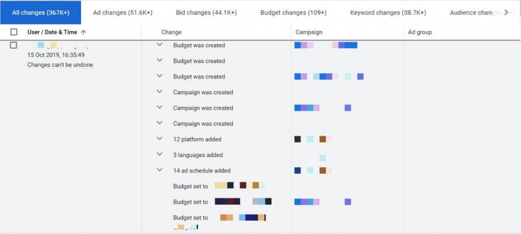 Google Ads Change History