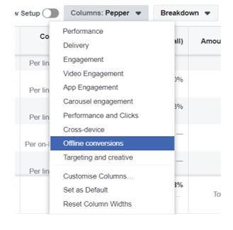 Facebook Offline Conversions Column
