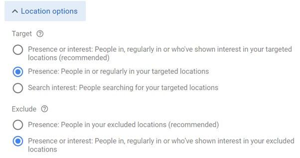 Google Ads Location Options