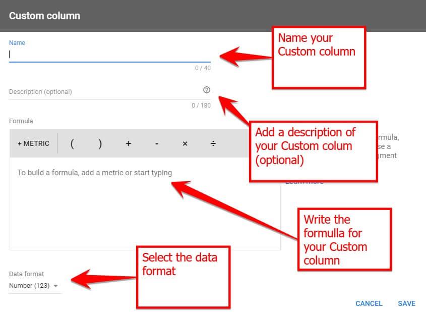 Create Your Custom Column Formula