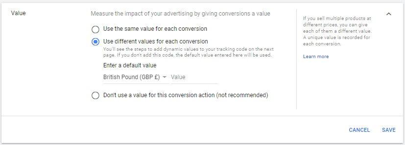 Conversion value for revenue tracking