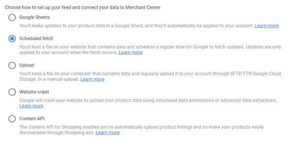 Google Merchant Centre Feed Upload Options