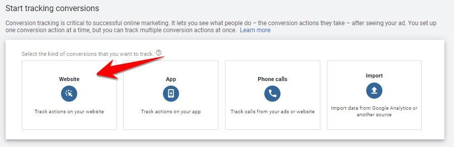 Select Website Conversions
