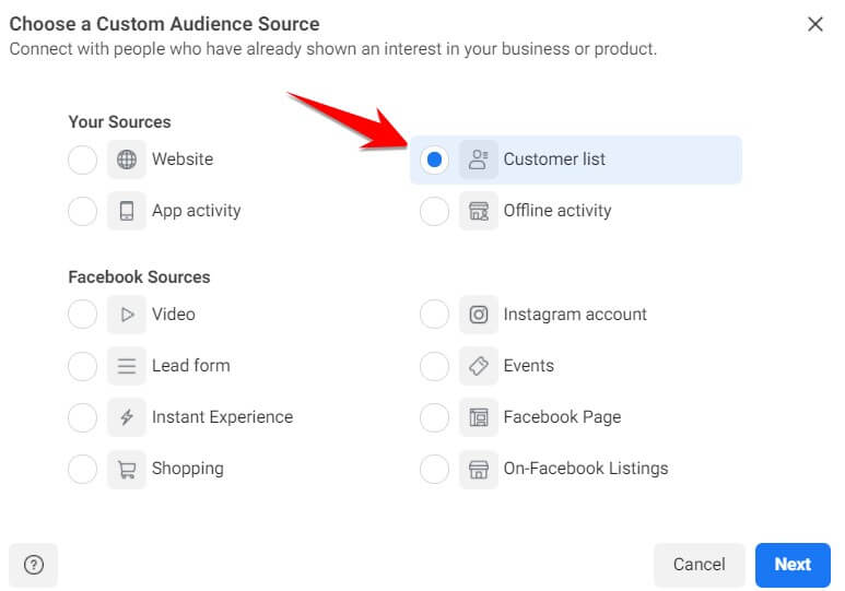 Facebook Upload CRM Data